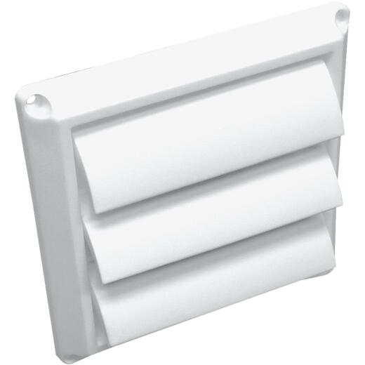 Lambro 4 In. White Plastic Louvered Dryer Vent Hood