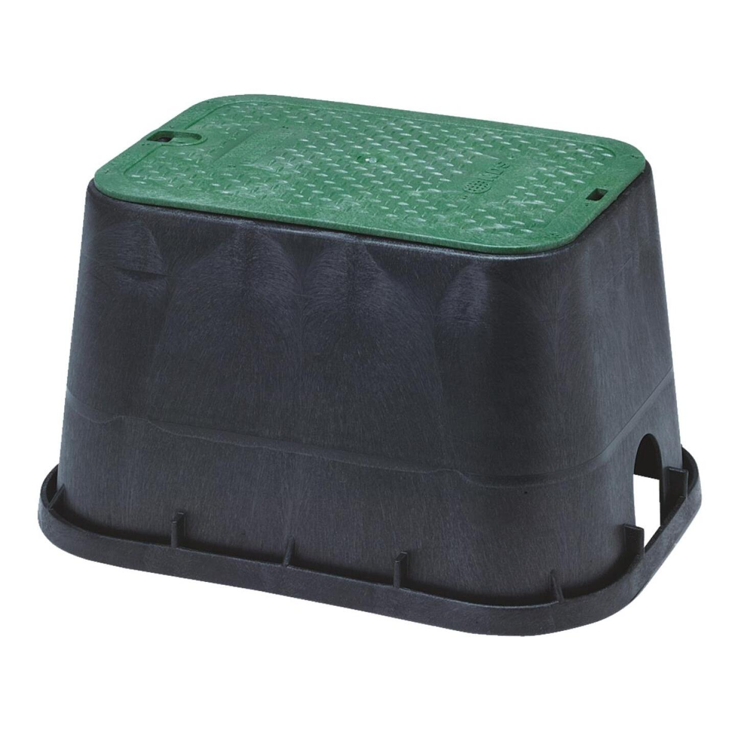 National Diversified 14 In. x 19 In. Standard Rectangular Black & Green Valve Box with Cover Image 1