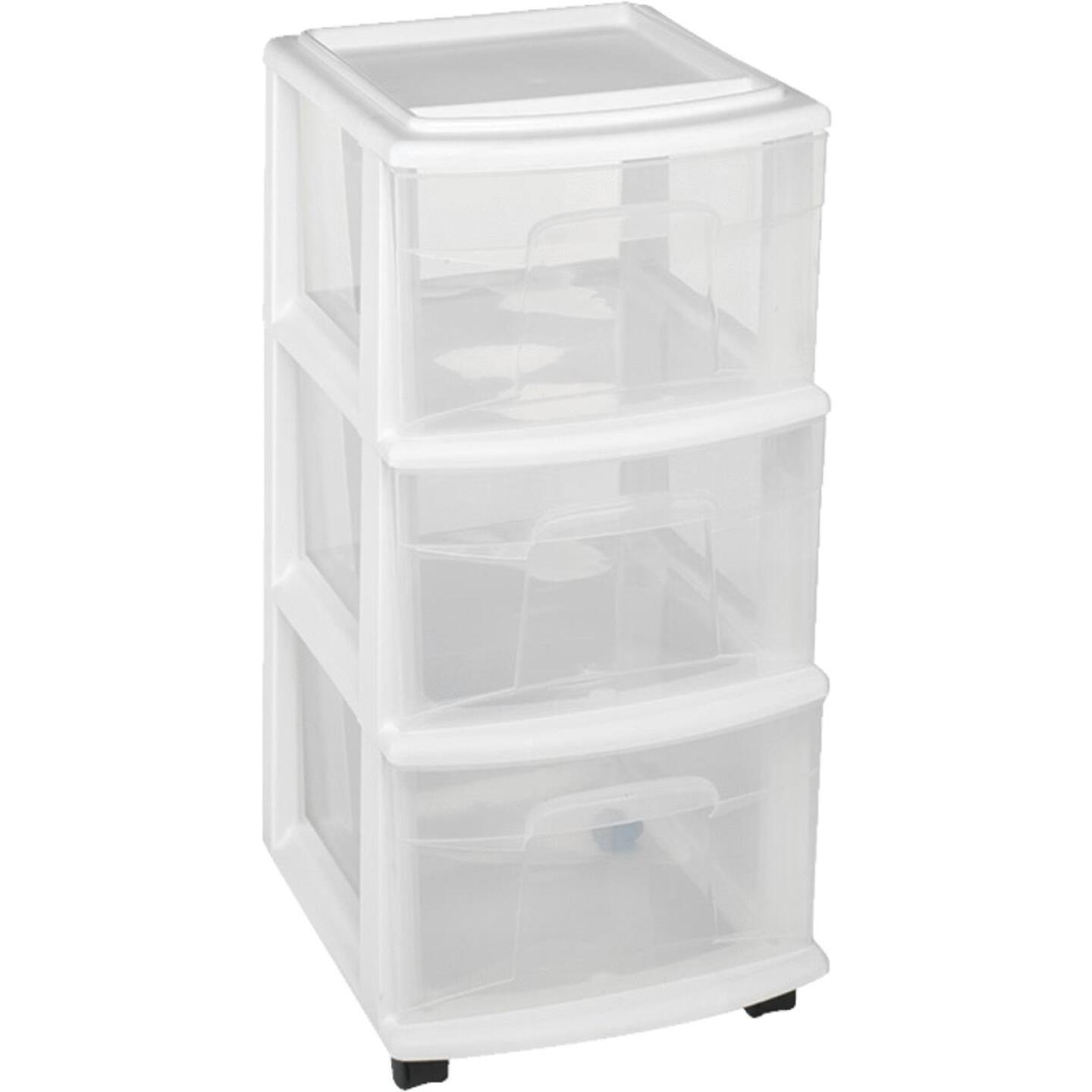 Homz 12 In. x 27 In. x 14 In. White 3-Drawer Storage Unit with Castors Image 1