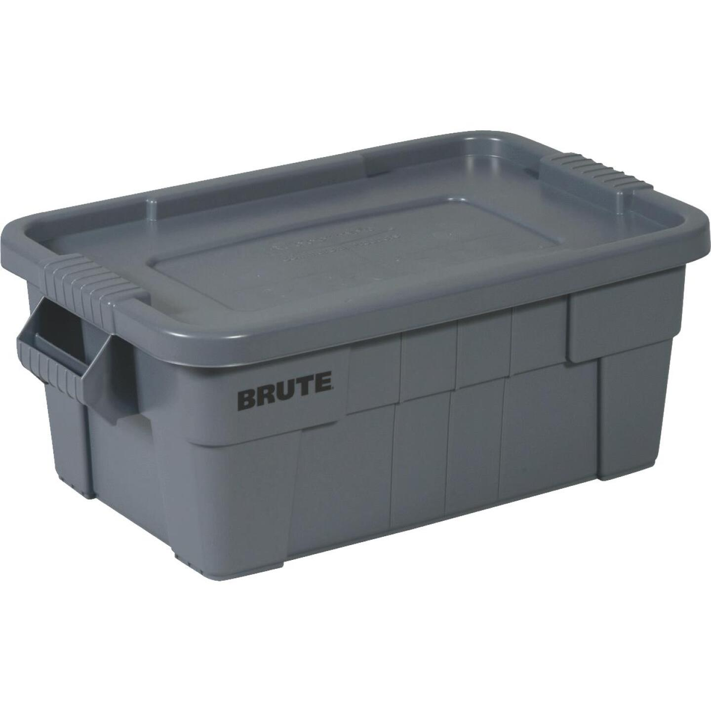 Rubbermaid 14 Gal. Gray Commercial Brute Storage Tote with Lid Image 1