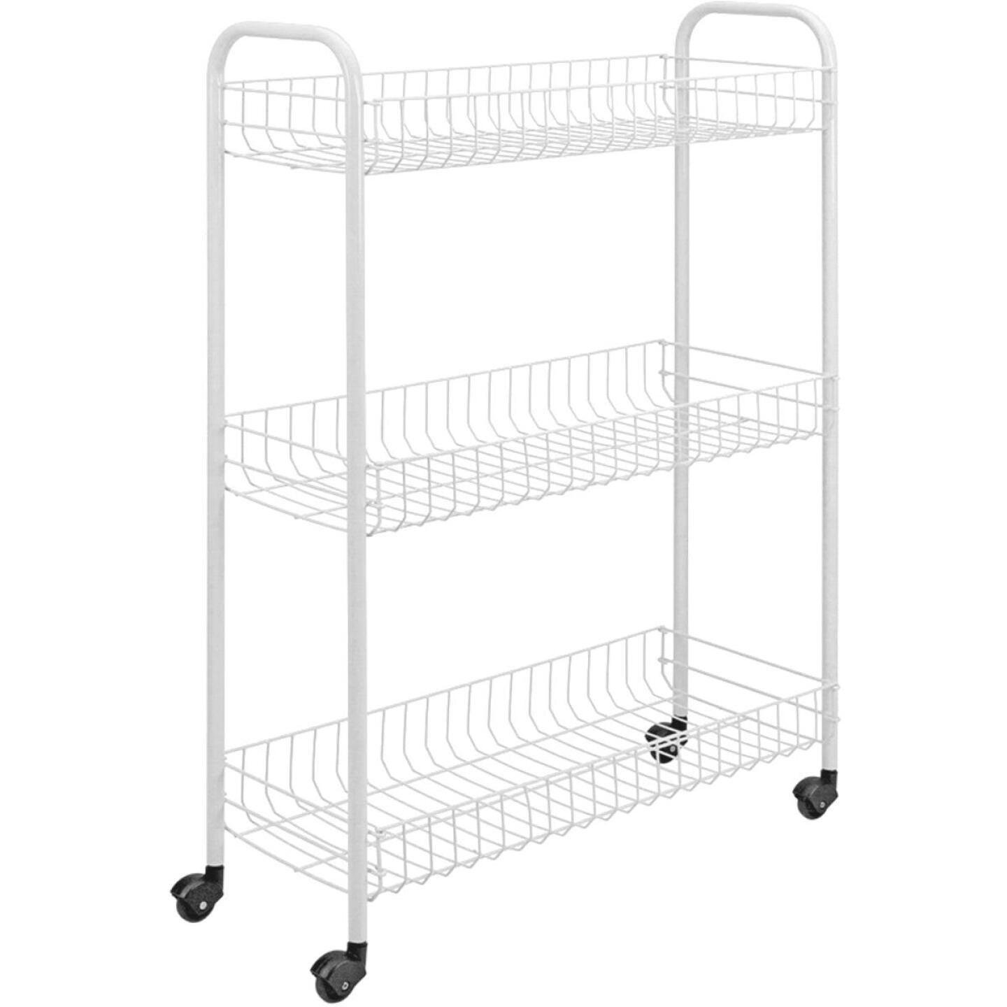 Metaltex 3-Tier Slim Rolling Storage Cart Image 1