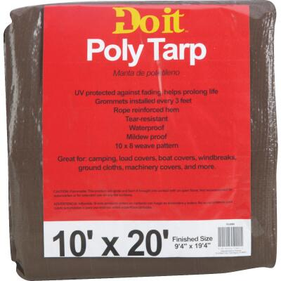 Do it Green/Brown Woven 10 Ft. x 20 Ft. Medium Duty Poly Tarp